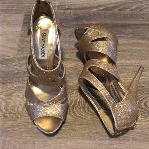 Gold sparkly Steve Madden heels
